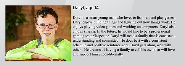 Daryl, 14, is up for adoption in Kansas