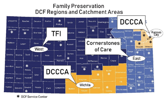 Family Preservation Regiond and Catchment areas map