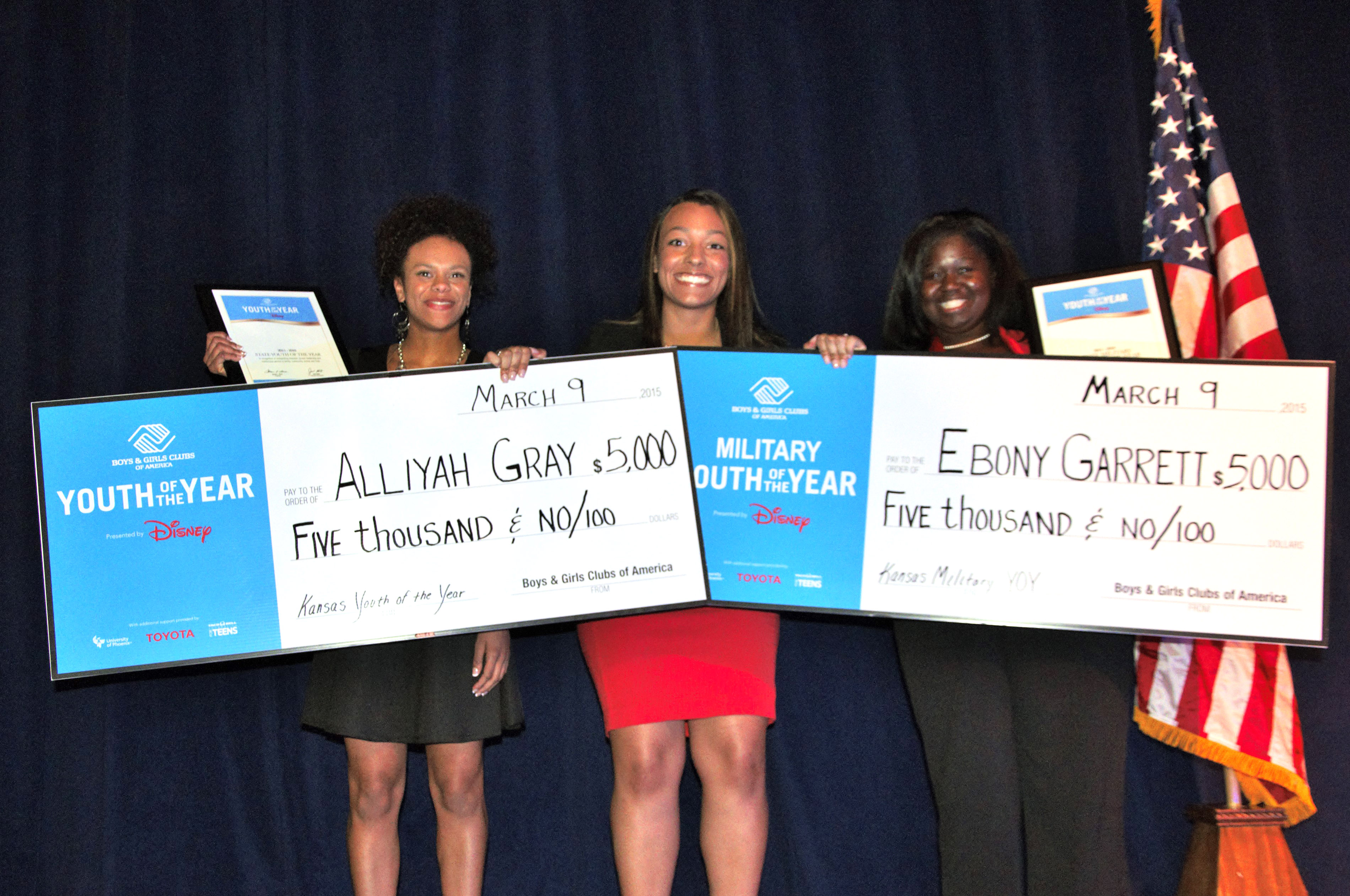 left to right, Alliyah Gray, Trei Dudley, 2012 National Youth of the Year from the Boys & Girls Club of Lawrence, Ebony Garrett