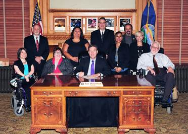 Governor Brownback sign proclamation decsignating October as Disability Employment Awareness Month.