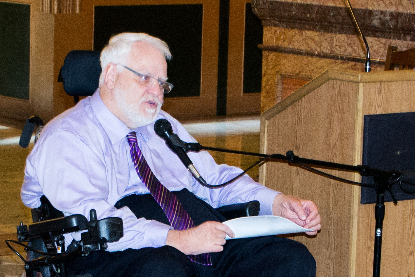 DCF Rehabilitation Services Director Mike Donnelly at today's 25th anniversary of the ADA celebration