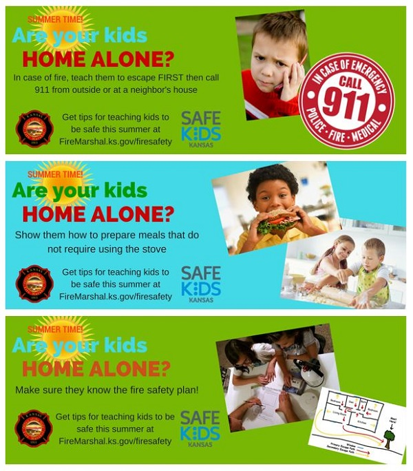 "3 images of ""Summer Time! Are youre kids Home Alone?"" In case of fire, teach them to escape FIRST then call 911 from outside or at a neighbor's house. Show them how to prepare meals that do not require using the stove. Make sure they now the fire safety plan."
