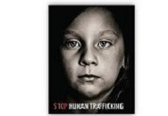 "Face of girl looking forward with text reading ""STOP HUMAN TRAFFICKING"""