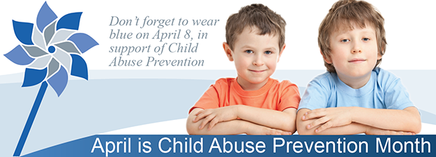 Picture of Two Boys, April is Child Abuse Prevention Month, wear blue april 8th