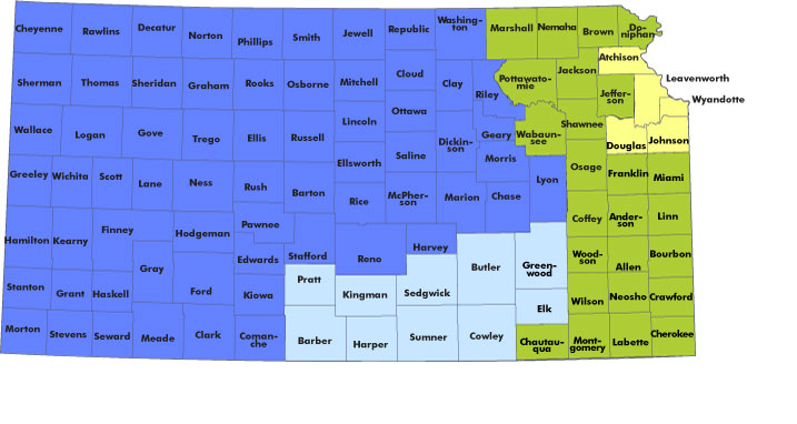 Independent Living Coordinators Map With Clickable Counties