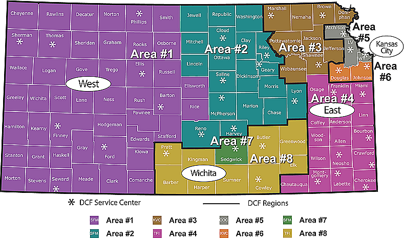 Map of Kansas with Clickable Areas for Counties